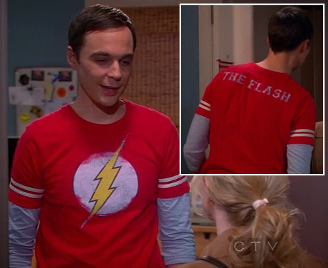 Leonard's red periodic table shirt on The Big Bang Theory