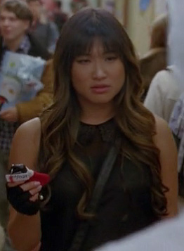 Tina's sheer black top with collar on Glee
