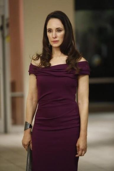 Victoria's purple off shoulder dress on Revenge