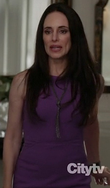 Victoria's purple pencil dress and lariat necklace on Revenge