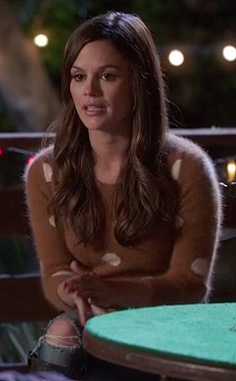 Rachel Bilson's brown and white polka dot pullover on Hart of Dixie