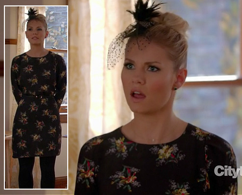 Alex's black longsleeved floral dress on Happy Endings