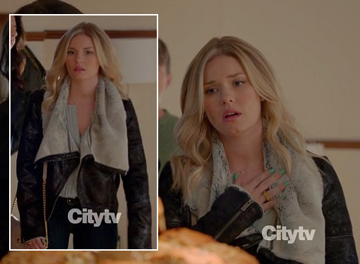 Alex's black and white leather fur coat on Happy Endings