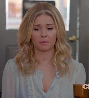 Alex's light blue pintuck blouse on Happy Endings