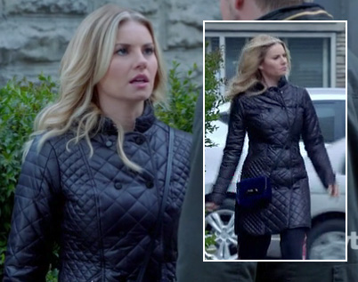Alex's long black quilted coat on Happy Endings