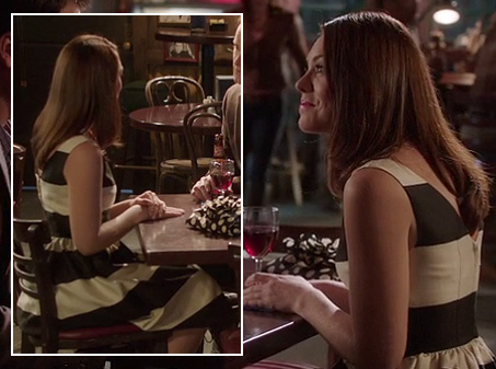 Anna Beth's black and white stripe dress on Hart of Dixie