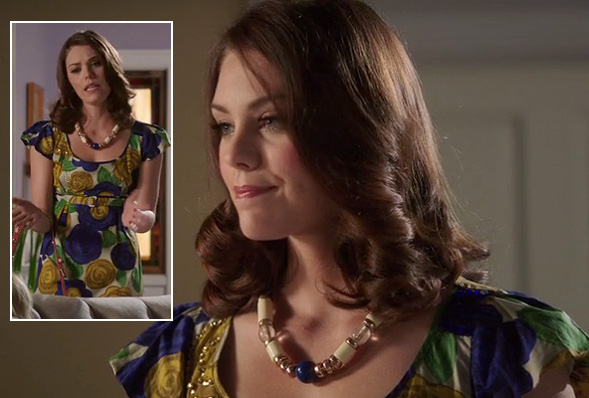 AnnaBeth's blue and yellow rose print dress on Hart of Dixie