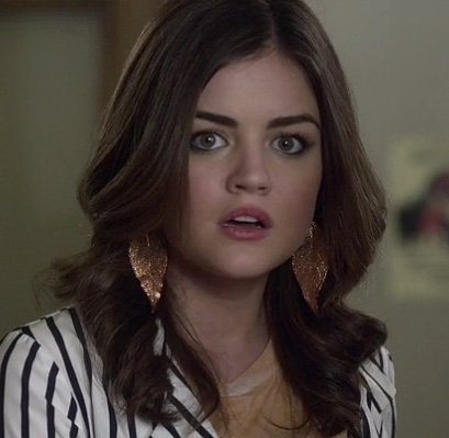 Aria's bronze glittery leaf earrings on Pretty Little Liars