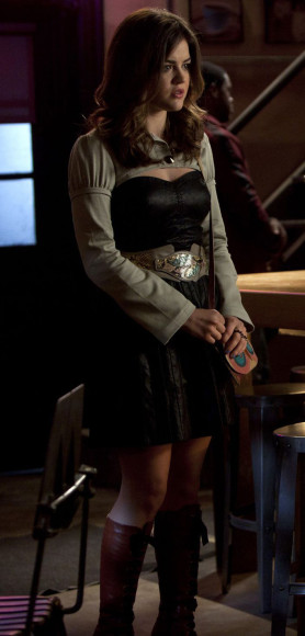 Lucy Hale's black leather dress on PLL