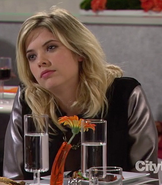 Ashley Bensons varsity jacket with metallic sleeves on HIMYM