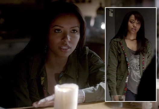 Bonne's green cargo jacket with embroidered trim on The Vampire Diaries