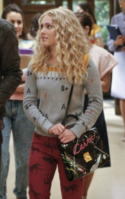 Carrie's grey alphabet sweater with red horse jeans on The Carrie Diaries