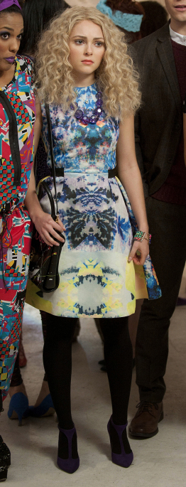 Carrie's flared multi-colored mirrored print dress on The Carrie Diaries