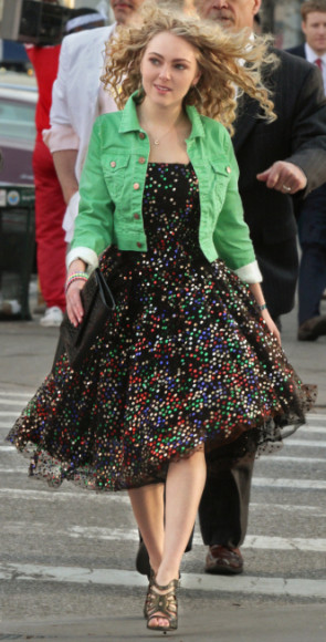 Carrie's rainbow polka dot dress on The Carrie Diaries Pilot
