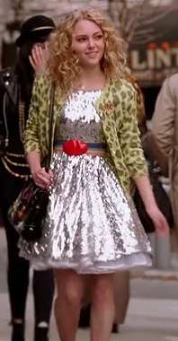 Carrie's silver dress and green cheetah cardigan on The Carrie Diaries