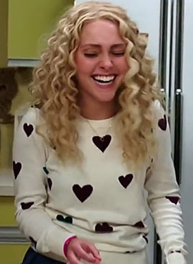 Carrie's white heart sweater on The Carrie Diaries