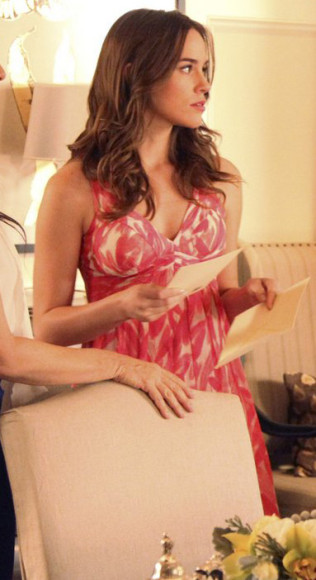 Charlottes pink feather dress on Revenge