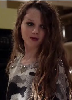 Dorrit's grey studded camo sweater on The Carrie Diaries