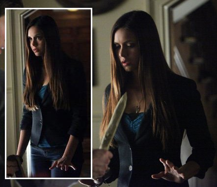 Elena's blue top and blazer on The Vampire Diaries