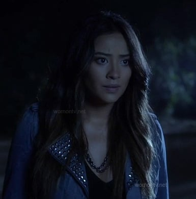 Emily's denim studded jacket on PLL