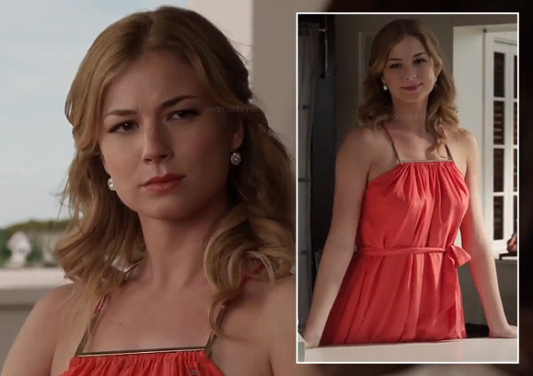Emily's red dress with gold bar on Revenge