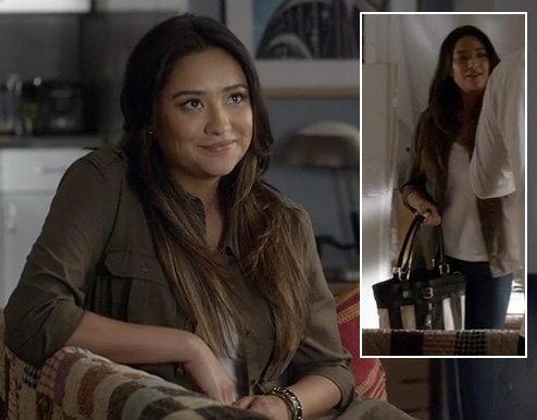 Emily's army green shirt and black and white striped bag on Pretty Little Liars