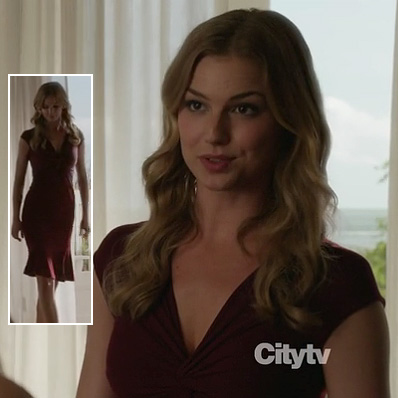 Emily's burgundy knot front dress on Revenge