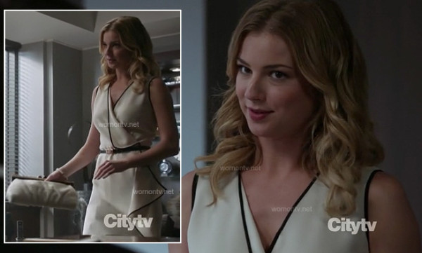 Emily's white wrap dress with black trim on Revenge