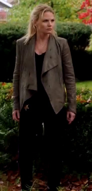 Jennifer Morrisons leather drape jacket on Once Upon A Time