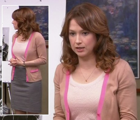Erin's beige cardigan with pink bow pockets on The Office