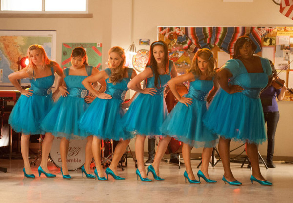 Bright blue dress on Glee