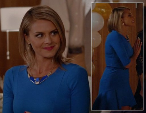 Jane's blue flared trumpet dress and plate necklace on Happy Endings
