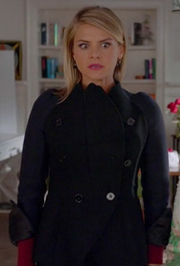 Jane's navy blue and black contrast jacket with curve on Happy Endings