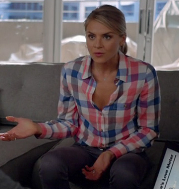 Jane's blue and pink checkered shirt on Happy Endings