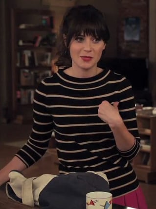 Jess Day in a J. Crew striped sweater on New Girl