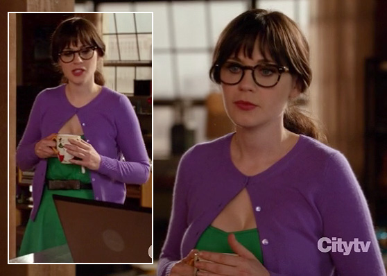 Jess's purple cardigan and green dress on New girl