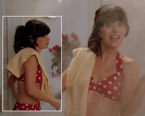 Jess's red polka dot swimsuit on New Girl