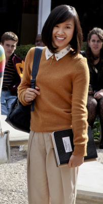 Jill's mustard yellow sweater with white collar on The Carrie Diaries