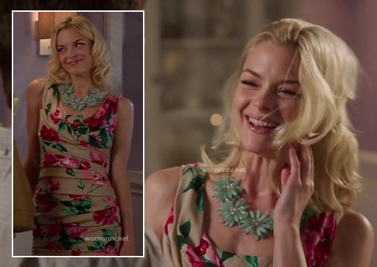 Lemon's floral folded dress and blue flower necklace on Hart of Dixie
