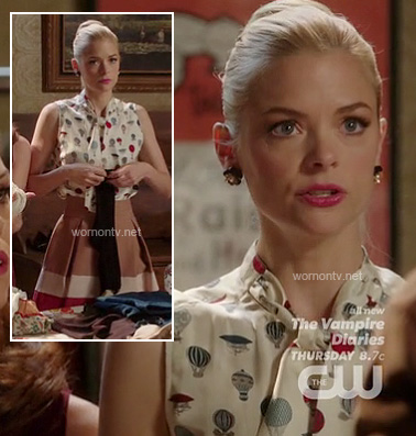 Lemon's hot air balloon print top and beige pleated skirt on Hart of Dixie