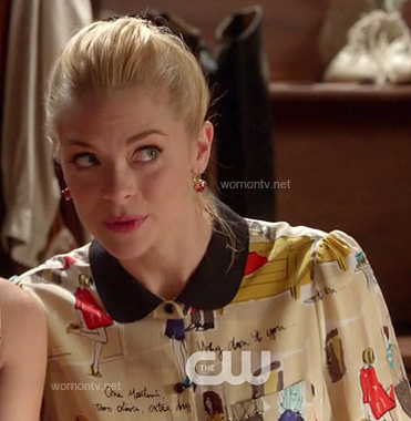 Lemon's graphic print blouse with black peter pan collar on Hart of Dixie