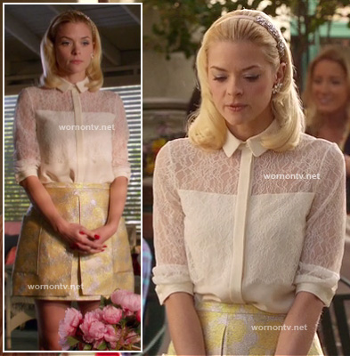 Lemon's yellow jacquard skirt and white lace shirt on Hart of Dixie