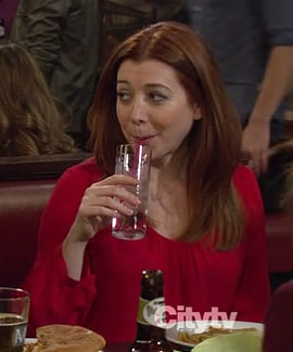 Lily's red 3 quarter sleeve blouse on HIMYM