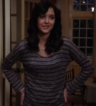 Maggie's grey and purple striped longsleeve top on The Carrie Diaries