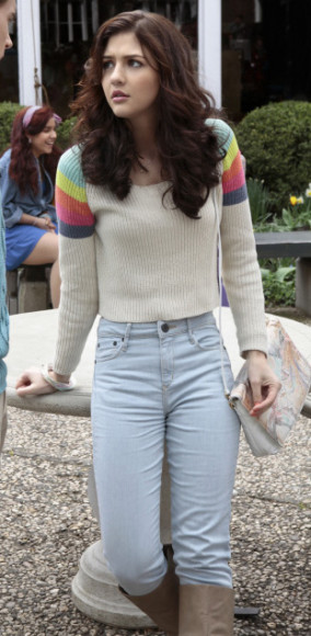 Maggie's rainbow striped shoulder sweater on The Carrie Diaries