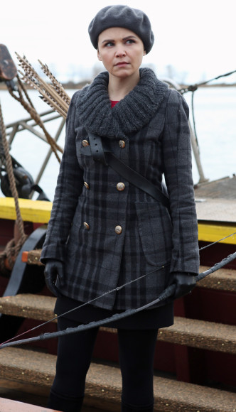 Snow Whites grey plaid coat on Once Upon A Time