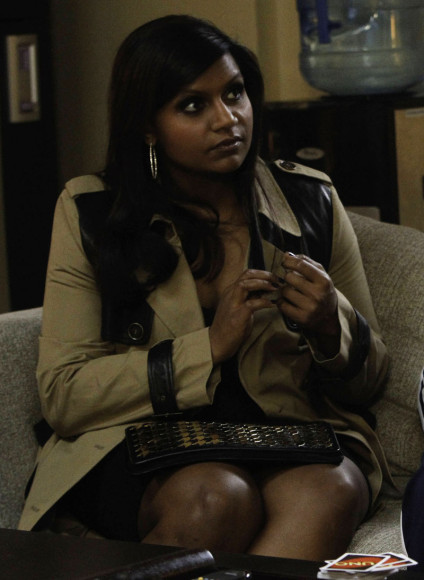 Mindy's leather trench coat on The Mindy Project