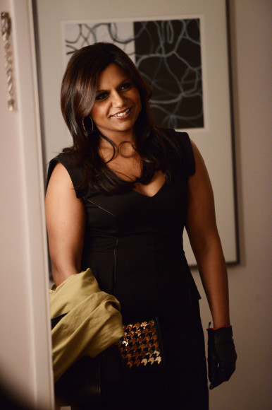 Mindy's black peplum dress on The Mindy Project