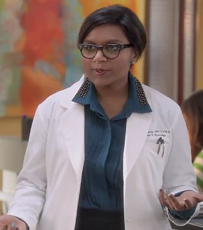 Mindy's blue studded collar top on The Mindy Project