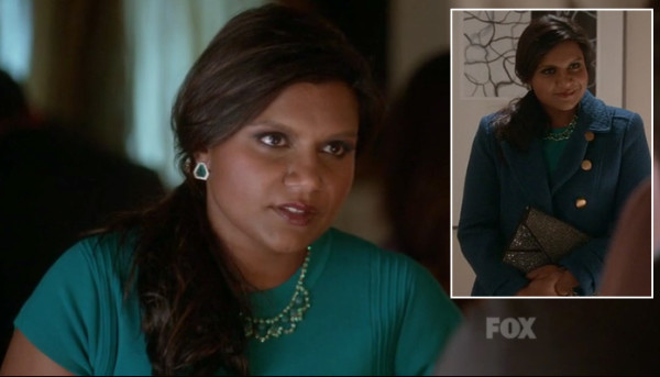 Mindy's green dress with necklace and earrings on The Mindy Project